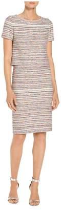 St. John Flag Tweed Knit Short Sleeve Dress