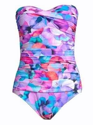 Gottex Swim Floral Print Strapless One-Piece