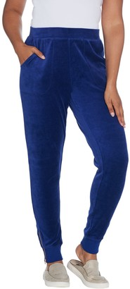 Denim & Co. Active Petite Velour Joggers with Zippers At Cuff