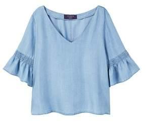 Violeta BY MANGO Frilled denim shirt