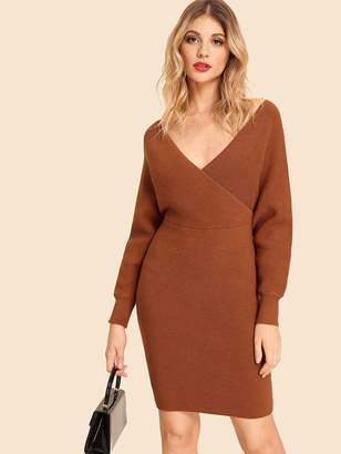 Shein Double V Neck Slim Fitted Batwing Knit Dress