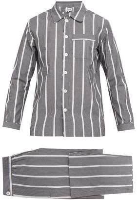 P. Le Moult - Striped Cotton Pyjama Set - Mens - Black