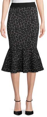 Michael Kors Leopard-Print Pencil Peplum Midi Skirt