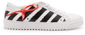 Off-White Off White Striped Low Top Leather Trainers - Mens - White Black