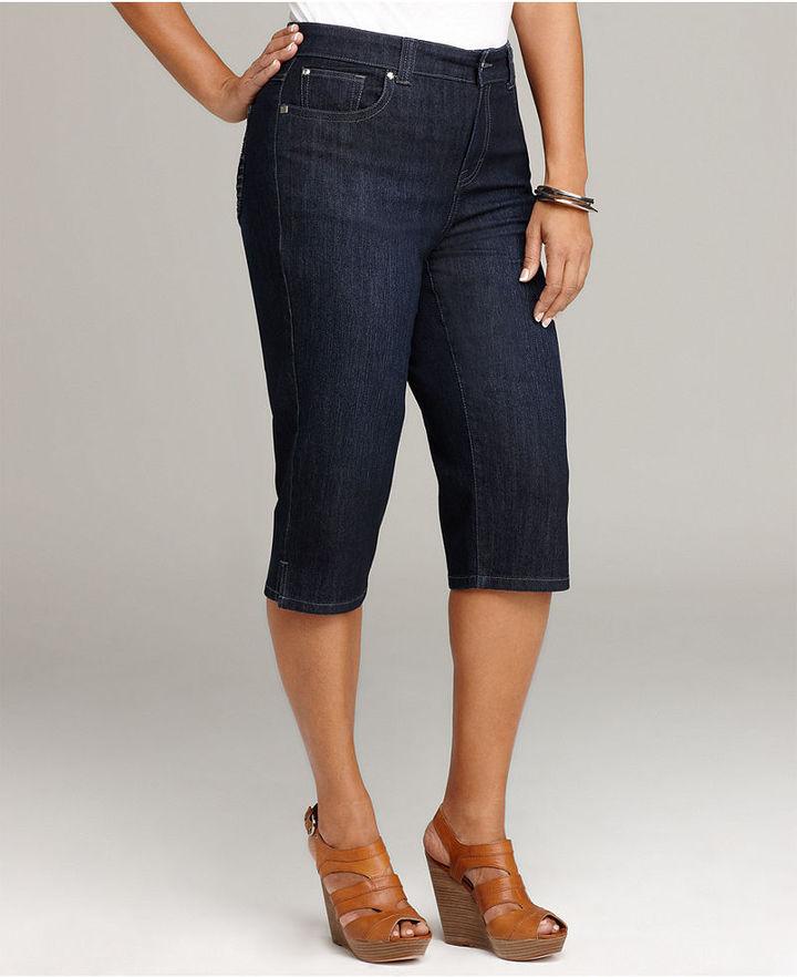 Style&co. Plus Size Jeans, Comfort Waist Capri Rinse Wash
