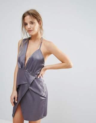 Missguided Gray Silky Asymmetric Wrap Dress