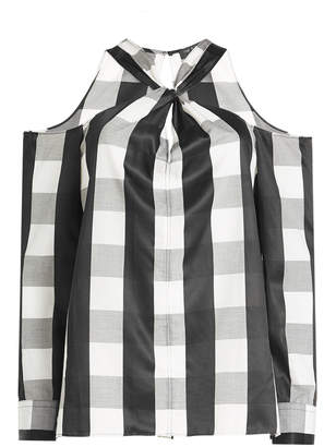 Rag & Bone Woman Cold-shoulder Twist-front Checked Poplin Shirt Black Size S Rag & Bone Clearance Cheapest Price Clearance Store Sale Online Cheap Real Authentic 100% Original For Sale Exclusive Online ojWrdld8oA