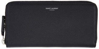 Saint Laurent Black Rive Gauche Zip Around Wallet