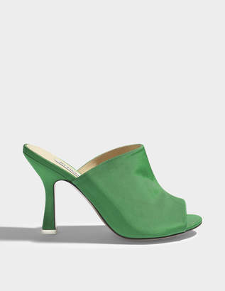 ATTICO Pamela Mule Shoes in Green Silk Leather