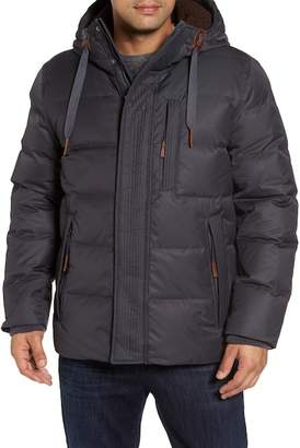 Andrew Marc Groton Slim Down Jacket w/ Faux Shearling Lining & Hoodie