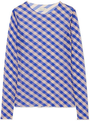 Dries Van Noten Striped Stretch-mesh Top - Blue