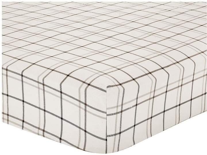 Brushed Cotton Check Fitted Sheet - Grey