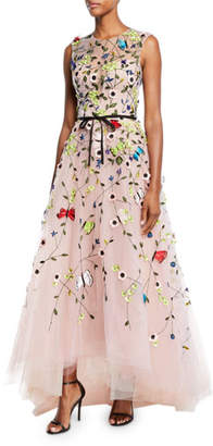 Monique Lhuillier Jewel-Neck Sleeveless Floral-Embroidered Tulle A-Line Evening Gown