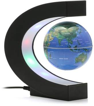 Meco Sizzler MECO 3'' C Shape Anti Gravity Globe Magnetic Levitation Floating Globe Illuminated and Changeable Color Globe World Map with Colored LED Light, Great Christmas Gifts, Desk Decor