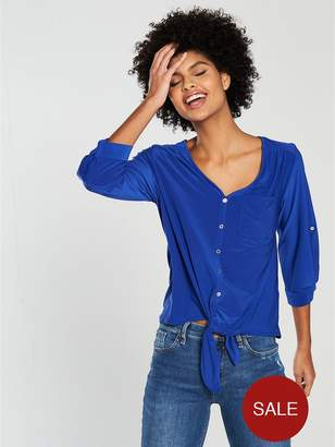Wallis Tie Front Pocket Shirt - Blue