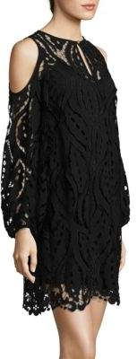 Shoshanna Lace Sheer Cold-Shoulder Dress