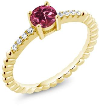 Swarovski Gem Stone King 0.58 Ct Tourmaline White Zirconia 18K Yellow Gold Plated Silver Ring