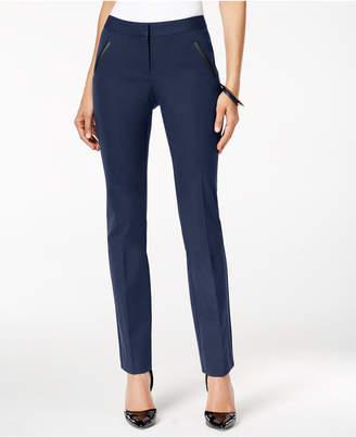 Alfani Faux-Leather-Trim Slim-Leg Pants