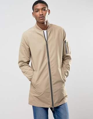 Brave Soul Long Line Zip Through Jacket