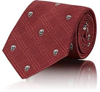 Alexander McQueen Men's Skull-Motif Checked Silk Necktie - Red