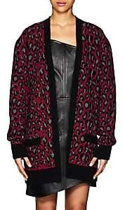 ADAPTATION Women's Leopard-Pattern Cashmere Cardigan-Purple