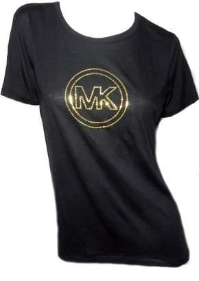 Michael Kors Womens Short Sleeve T Shirt Gold Studded Logo (M)