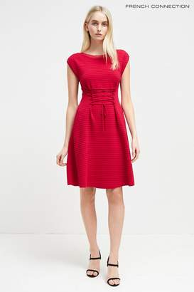 Next Womens French Connection Crimson Crepe Knits Lace Up Dress