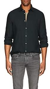 Massimo Alba Men's Washed Slub Twill Shirt - Dk. Green