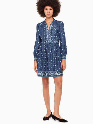 Kate Spade Bandana denim tie neck dress