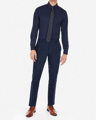 Express Extra Slim Navy Performance Stretch Cotton Blend Suit Pant