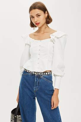 Topshop Ruffle Structured Blouse