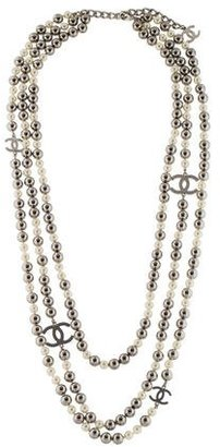 Chanel Faux Pearl CC Multistrand Necklace