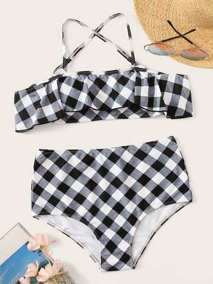 Shein Gingham Flounce Top With High Waist Bikini Set
