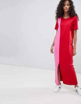 Asos Ultimate T-Shirt Maxi Dress In Color Block