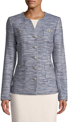 Karl Lagerfeld Paris Crewneck Tweed Button-Pocket Jacket