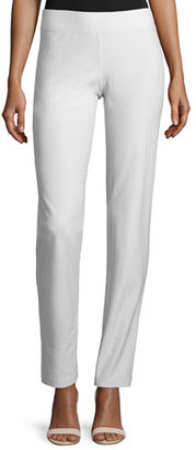 Eileen Fisher Washable-Crepe Straight-Leg Pants, Bone, Plus Size $178 thestylecure.com