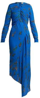 Preen by Thornton Bregazzi Floral Print Pleated Georgette Midi Dress - Womens - Blue Multi