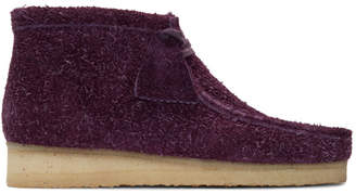 Clarks Purple Hairy Suede Wallabee Boots