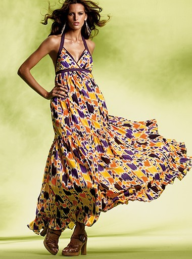 Print maxi halter dress