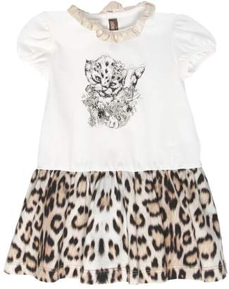 Roberto Cavalli Leopard Print Cotton Jersey Dress