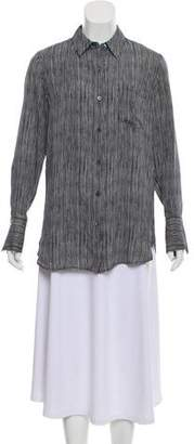 Theory Silk Long Sleeve Button- Up Top