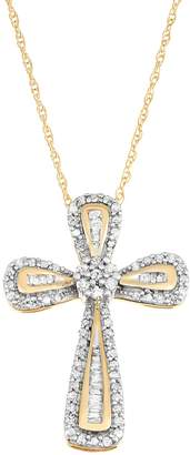 10k Gold 1/4 Carat T.W. Diamond Cross Pendant Necklace