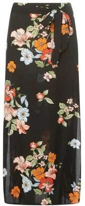 Dorothy Perkins Womens Black Floral Print Woven Maxi Skirt