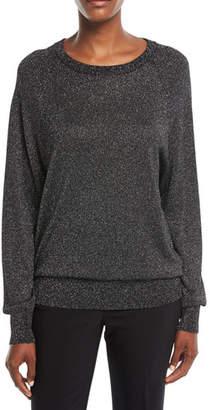 Michael Kors Raglan Long-Sleeve Crewneck Metallic Pullover Sweater