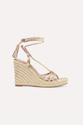 Aquazzura Savannah 120 Metallic Leather Espadrille Wedge Sandals - Gold