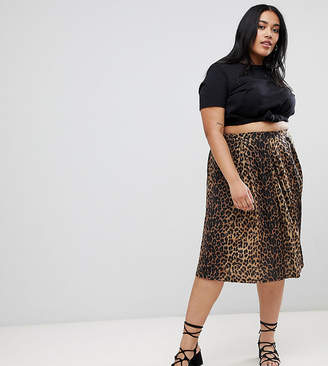 Asos DESIGN Curve box pleat midi skirt in leopard print