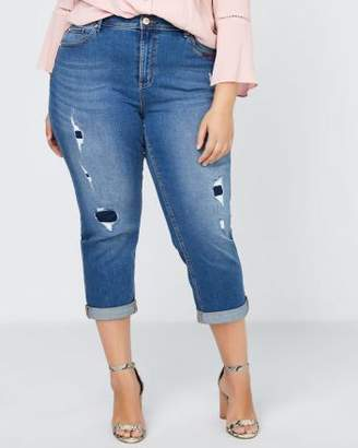 Penningtons Petite Slightly Curvy Fit Denim Girlfriend Capri with Rips - d/C JEANS