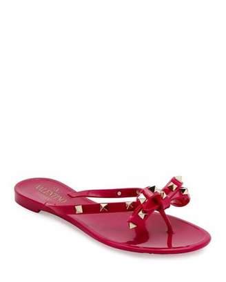 Valentino Rockstud PVC Flat Thong Sandals, Deep Cyclamen