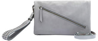 Mint Velvet Abbie Leather Studded Cross Body Bag, Light Grey