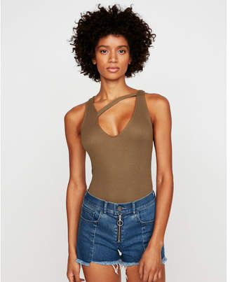 Express one eleven ribbed strap front tank